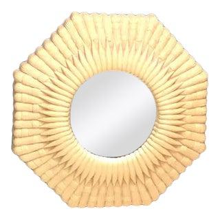 Faux Wicker Octagon Wall Mirror For Sale