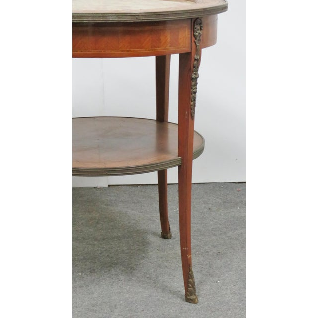 French Grosfeld Marble Top Satinwood Inlaid Center Table For Sale - Image 3 of 9