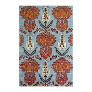 "Kafkaz Peshawar Adelaida Blue Orange Wool Rug - 4'3"" x 6'1"""