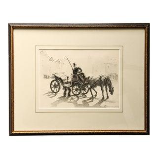 Original Vintage Illustration of Men and Horse Carriage Signed by Artist Adele Cording Meola With Wood Frame For Sale