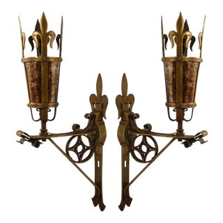 1920s Brass & Mica French Sconces - a Pair For Sale