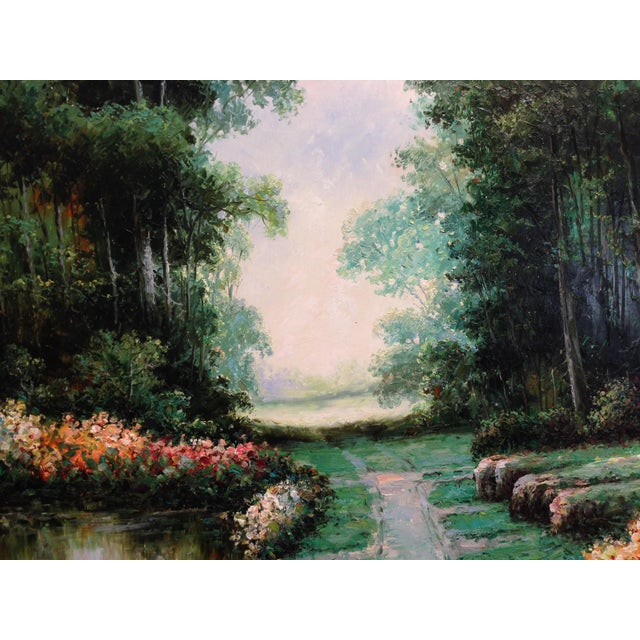 Large Impressionist Style Landscape Oil Painting - Image 6 of 7