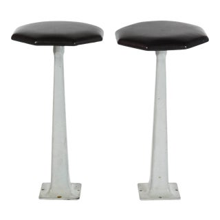 1940s Industrial Stools with Leather Tops- a Pair For Sale