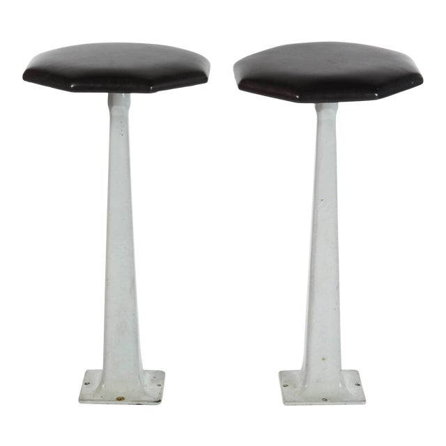 Pair of 1940s Industrial Floor Mount Stools With Black Leather Tops For Sale