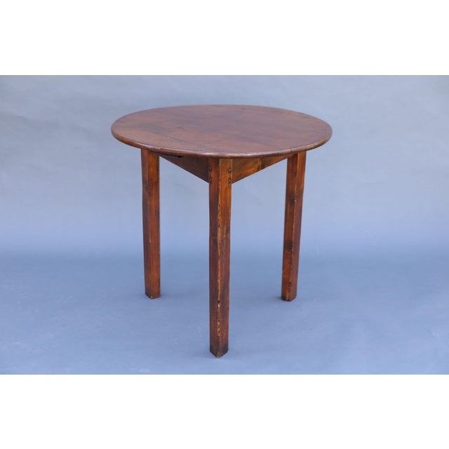 Antique English Chestnut Cricket Table, One Board Top For Sale - Image 9 of 9