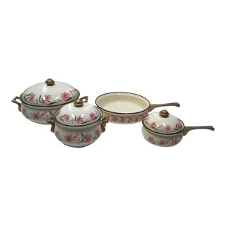 Ivory Enamel and Brass Pots and Pans Set With Pink Lilly Design-7 Pieces For Sale