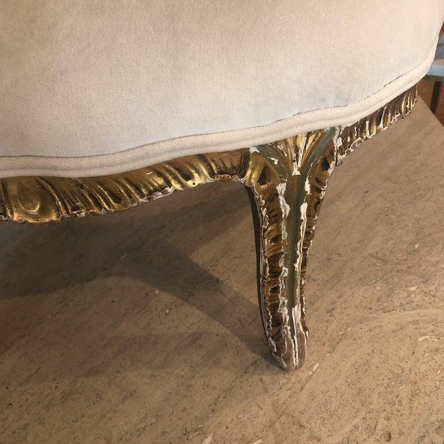 Textile Antique Gilded Velvet Upholstered Footstool For Sale - Image 7 of 13