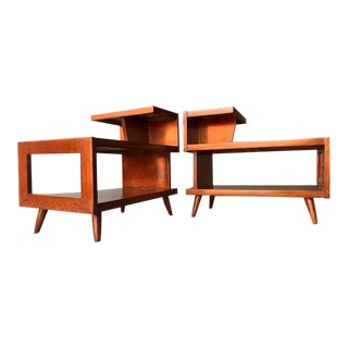 Mid Century Modern 3 Tier End Tables - a Pair For Sale