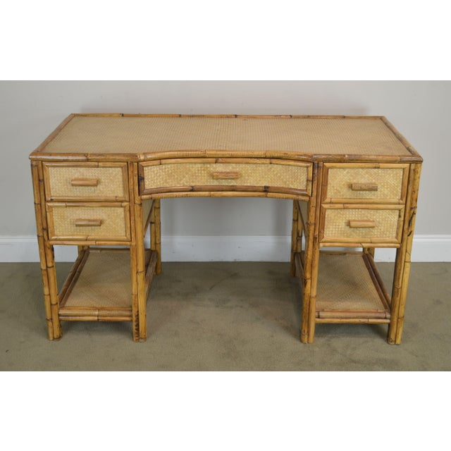 Traditional Vintage Rattan Writing Desk For Sale - Image 3 of 12