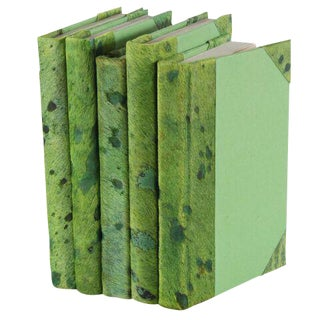 Metallic Hide Green Books - Set of 5 For Sale
