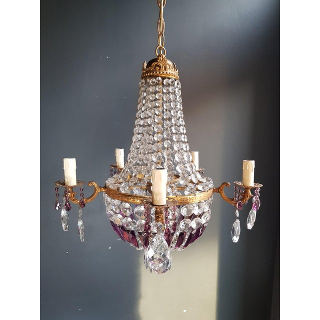 Empire Sac a Pearl Purple Chandelier Crystal Lustre Ceiling Lamp Basket Antique Brass For Sale - Image 6 of 8