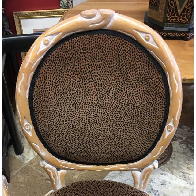 Boho Chic Faux Bois Brown Velvet Side Chairs - Set of 4 For Sale - Image 4 of 12