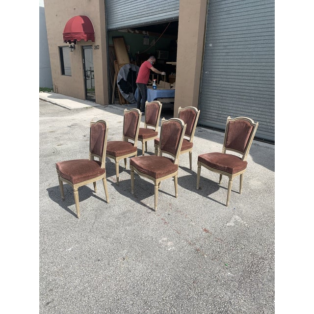 1910s Vintage French Louis XVl Solid Mahogany Dining Chairs - Set of 6 For Sale In Miami - Image 6 of 13
