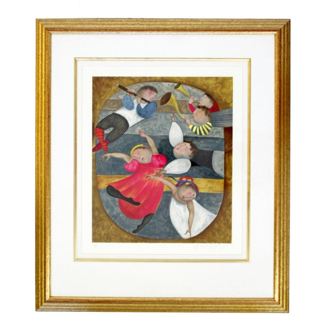 Lithograph Mid-Century Modern Gold Framed Lithograph Signed by Graciela Boulanger For Sale - Image 7 of 7