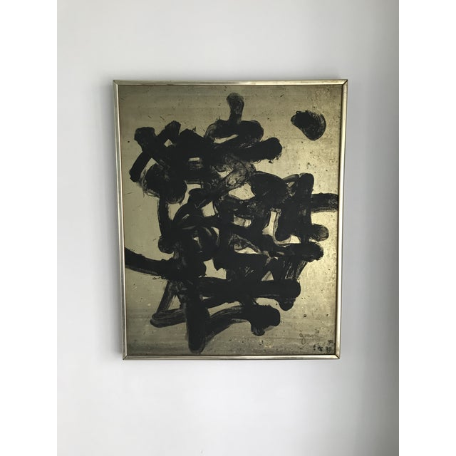 1960s Vintage Mid Century Modern Abstract Oil Painting on Board- Signed For Sale - Image 5 of 10