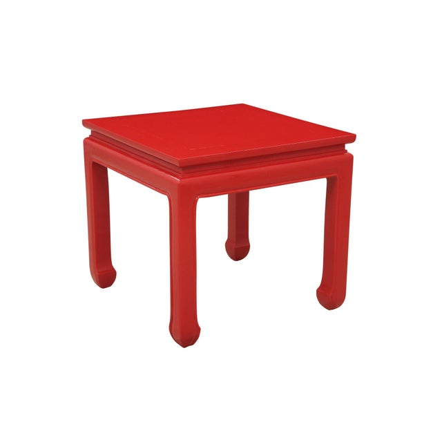 A pair of Ming style end tables made of teak. Elegant lines form the square top which flows into straight legs finished...