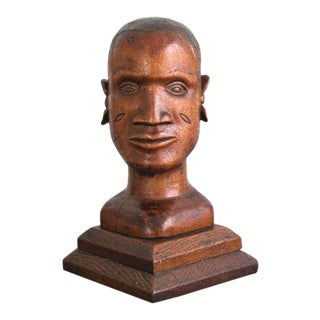 American Folk Art Hand Carved Pine Bust of an Gold Coast African Man Dated 1936 For Sale