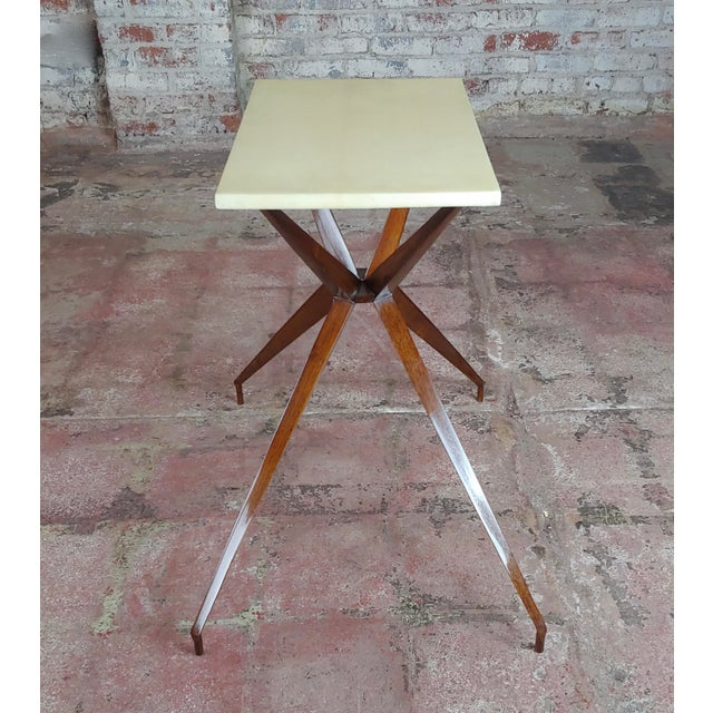 Mid-Century Modern Mid Century Modern Geometric Side Table With Goatskin Top For Sale - Image 3 of 10