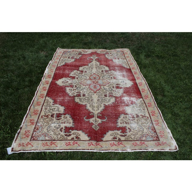 Vintage Turkish Anatolian Handmade Home Decorative Red Color Area Size Rug- 5′7″ × 8′3″ For Sale - Image 9 of 9
