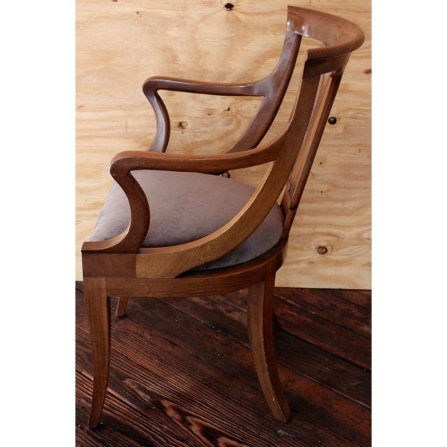 """Empire Empire """"Chaise en Gondole"""" Fruitwood Baker Dining Chairs - Set of Four For Sale - Image 3 of 8"""