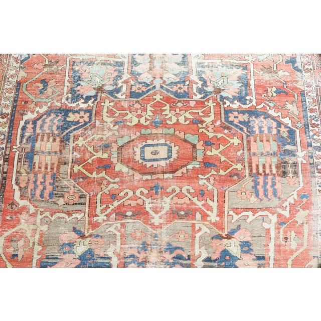 """Islamic Antique Distressed Serapi Persian Wool Rug - 12'6""""x8'8"""" For Sale - Image 3 of 4"""