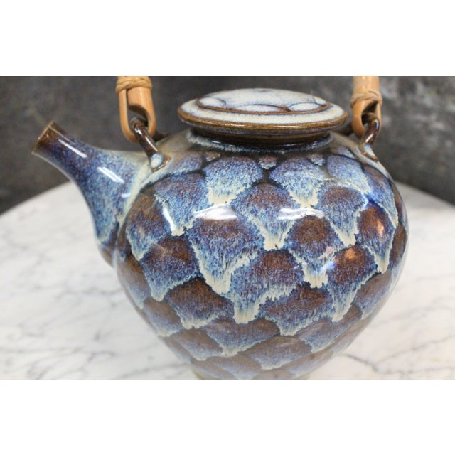 Art Deco Ceramic Teapot with Wooden Handle For Sale - Image 3 of 8