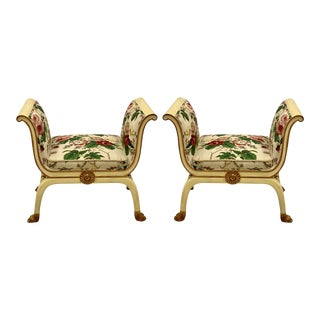 Mario Buatta Style Benches in Chintz by Schumacher - a Pair For Sale