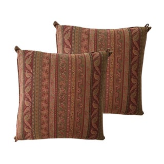 Cowtan & Tour Striped Paisley Pillows - A Pair For Sale
