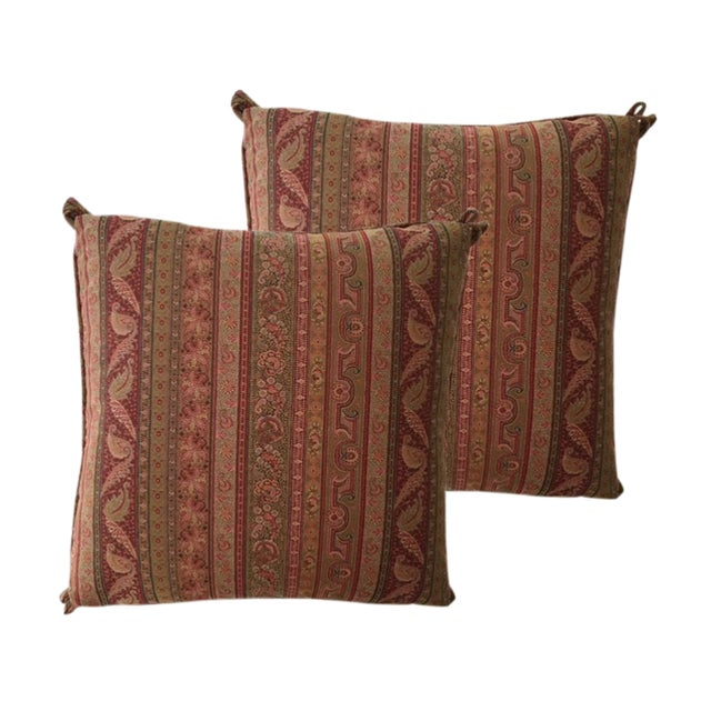 Cowtan & Tour Striped Paisley Pillows - A Pair - Image 1 of 4