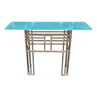 Modern Designer Nickel Plated Art Deco Glass Top South Beach Console Table For Sale