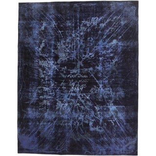 "20th Century Turkish Dark and Moody Distressed Rug With Industrial Luxe Style - 9'8"" X 12'3"" For Sale"