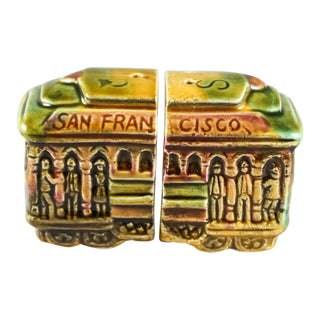 1970's San Francisco Cable Car Souvenir Salt & Pepper Shaker Set - A Pair