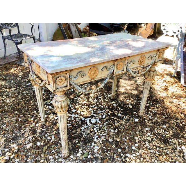 19th Century 19th Century Italian Marble Top Console Table For Sale - Image 5 of 12