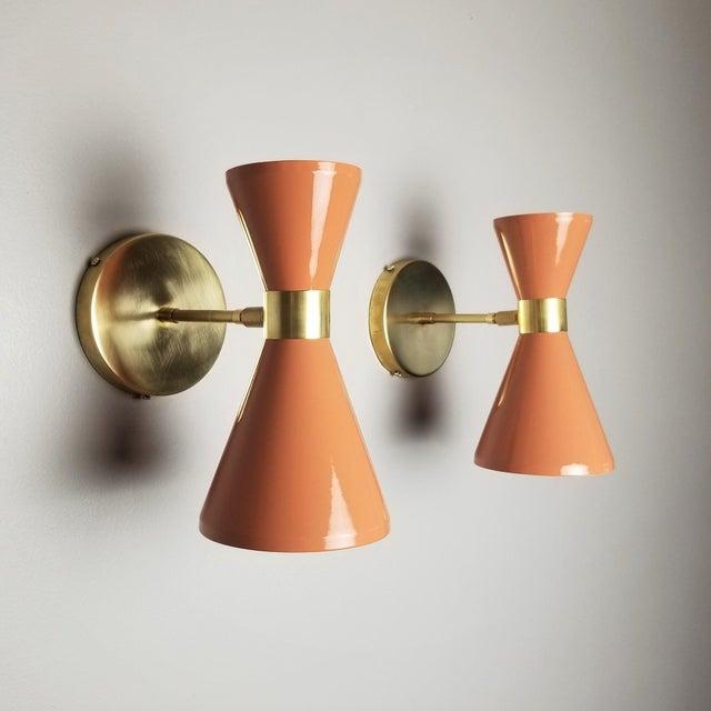 "Italian Modern Brass & Blush Enamel ""Campana"" Wall Sconces - A Pair For Sale - Image 9 of 10"