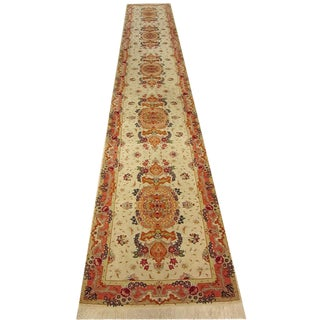 Shiraz - Floral Persian Tabriz Silk and Wool Runner - 2′6″ × 17′ For Sale