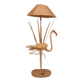 Mario Lopez Torres Flamingo Wicker Floor Lamp For Sale