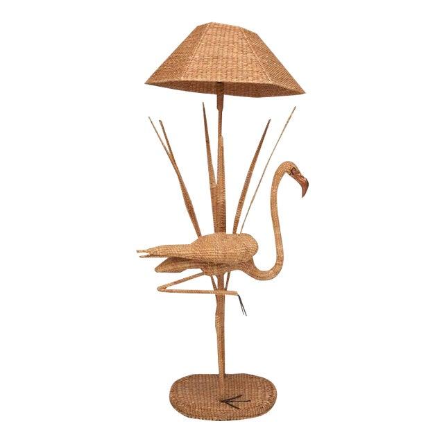 Mario Lopez Torres Flamingo Wicker Floor Lamp For Sale