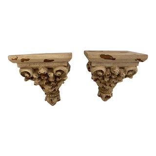 Carved Distressed Painted Wall Brackets - a Pair For Sale