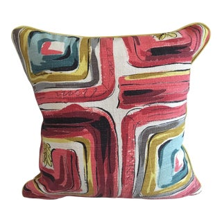 "The Berkeley ""Mod"" Barkcloth Pillow With Lemon Leather Cording"