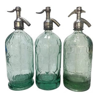 Set of 3 Rare 1920's Beveled Seltzers Bottles For Sale