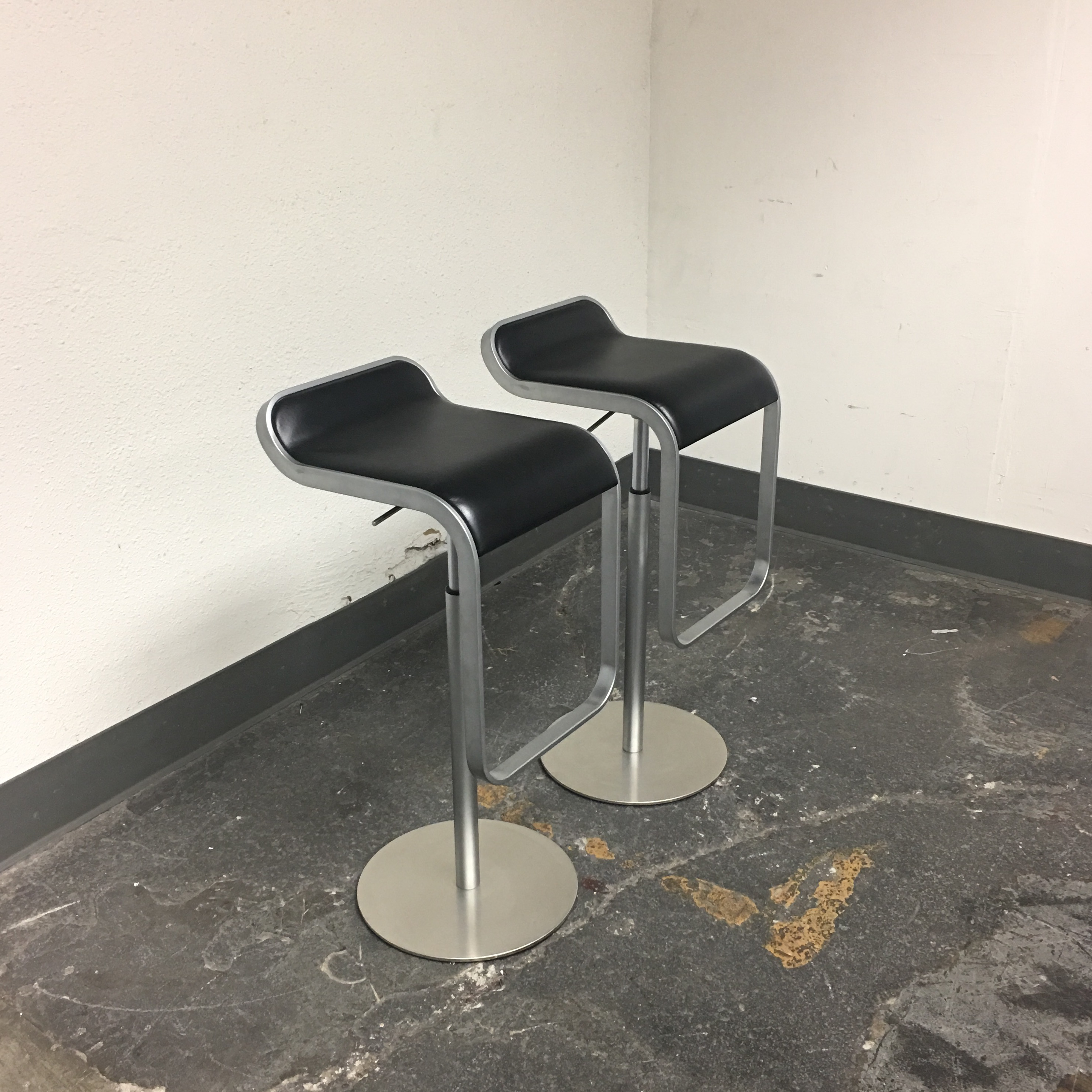 Delightful DWR Lem Piston Stools With Black Leather Seats   A Pair   Image 3 Of 8 Amazing Design