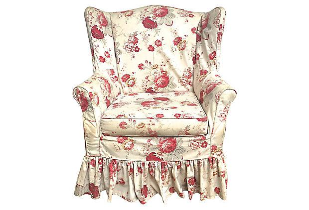Vintage Custom Floral Slipcovered Wingback Chair   Image 6 Of 6