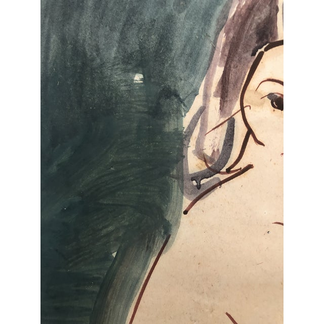 Mid-Century Female Nude With Violin Watercolor 1960s For Sale - Image 10 of 12
