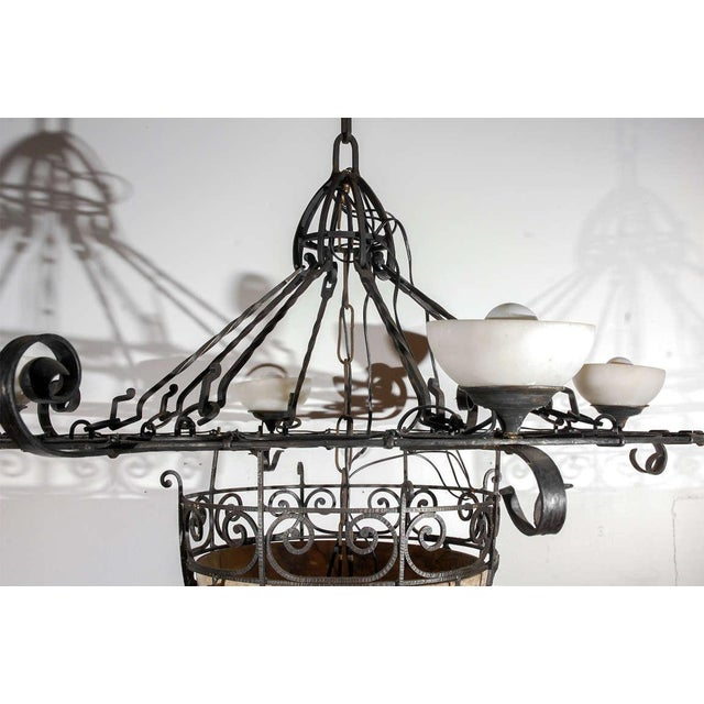 Black French Iron and Alabaster Fixture For Sale - Image 8 of 10