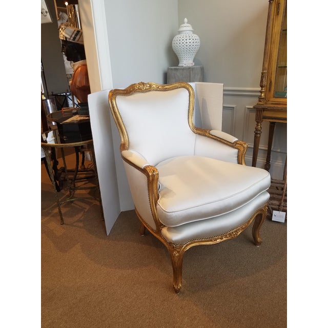 Louis XV 1960s Louis XV Gilt Wood and Fortuny Silver Silk Blend Upholstered Bergere Chairs - a Pair For Sale - Image 3 of 12