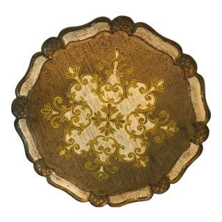 Vintage Italian Florentine Gild Wood Tray For Sale