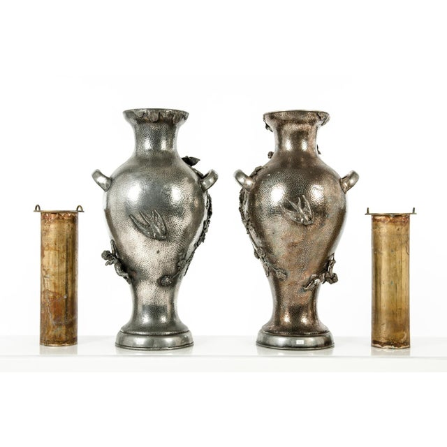 Early 19th century textured handcrafted sculptures decorative vases with insert for water. Each piece measures 20 inches...