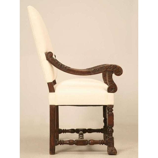 Hand-Carved French White Oak Throne Chairs - A Pair - Image 3 of 11
