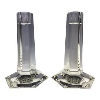 1980s Tiffany & Co. Frank Lloyd Wright Crystal Candleholders - a Pair For Sale
