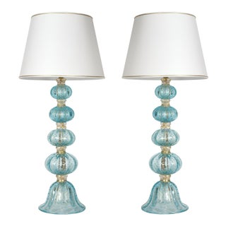 Turquoise With Gold Flecks Table / Task Lamps - a Pair For Sale
